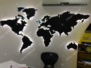 Işıklı dünya haritası banko tabelası