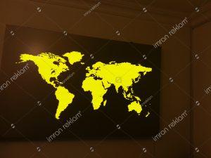 Işıklı dünya haritası banko arkası tabelası