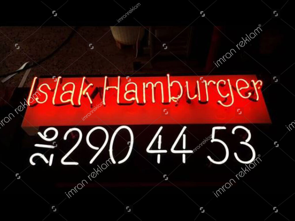 Islak Hamburgerci Neon Tabela