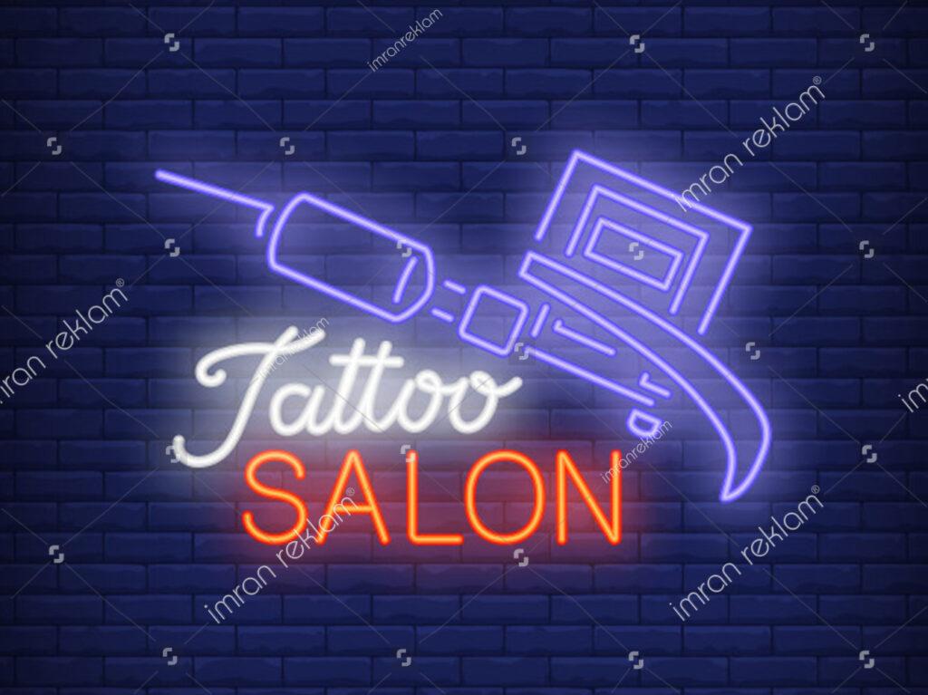 Neon Işıklı Tattoo Dövmeci Tabelası