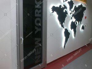 Pleksi dünya haritası banko tabelası