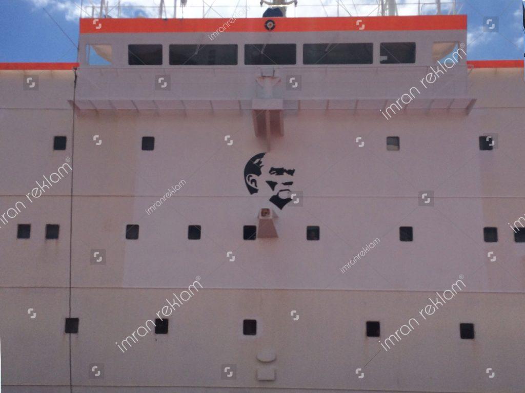 Gemi Atatürk şekli folyo kaplama