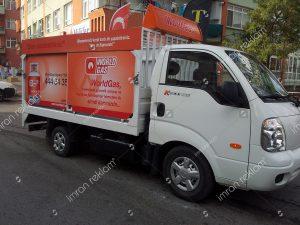 Worldgas kamyonet reklam giydirme