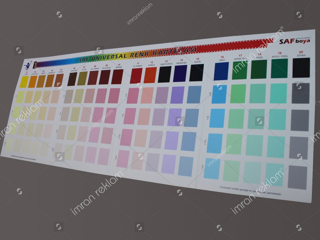 serigrafi baskı iç cephe boya renk kartelası