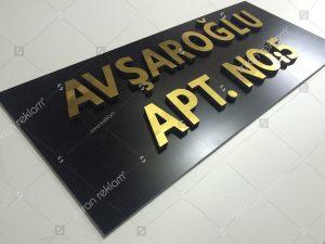 Alücor Kesim Harfli apartman tabelası