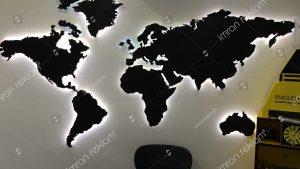 Işıklı Dünya Haritası Tabelası