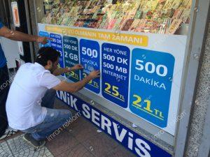 Turkcell kampanya cam giydirme örnekleri
