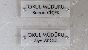 Okul müdürü kapı isimlik tabelası