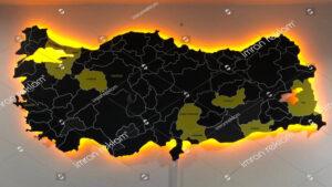 Işıklı Türkiye Haritası Tabelası